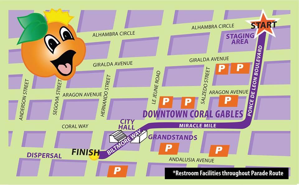 Junior Orange Bowl Parade 2014 Route