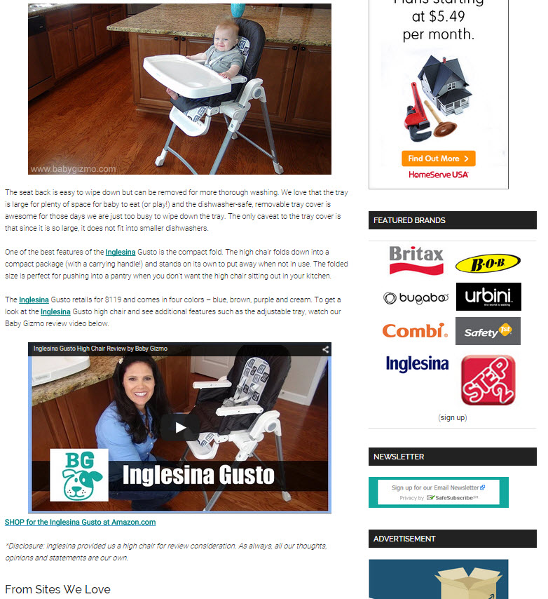 Inglesina Press 04-03-15 Baby Gizmo Gusto Chair Review 2