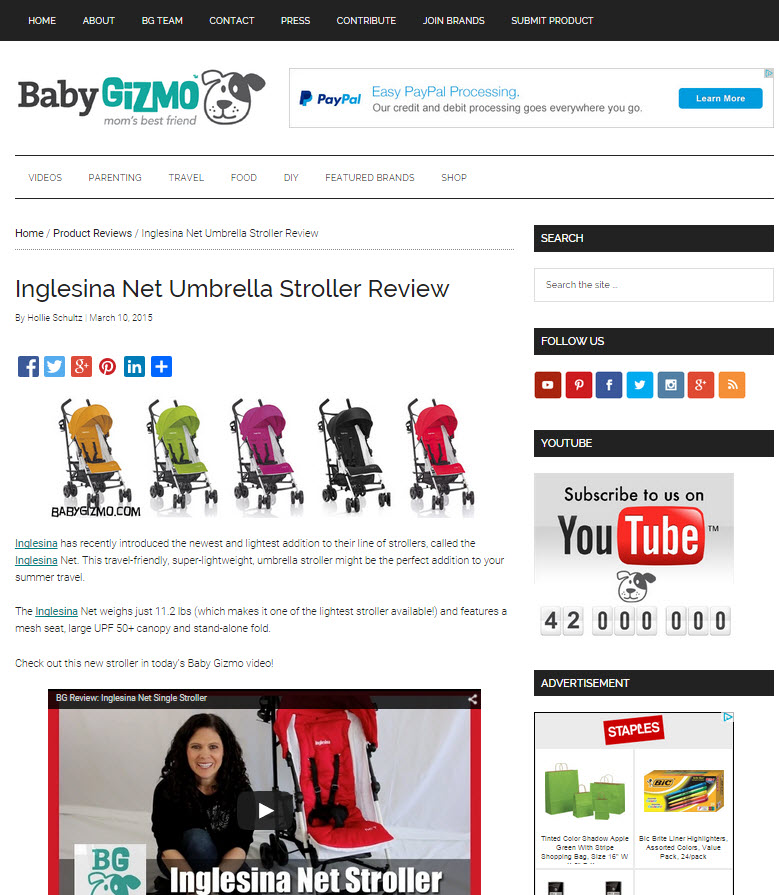 Inglesina Press 03-10-15 Baby Gizmo Net Stroller Review 1