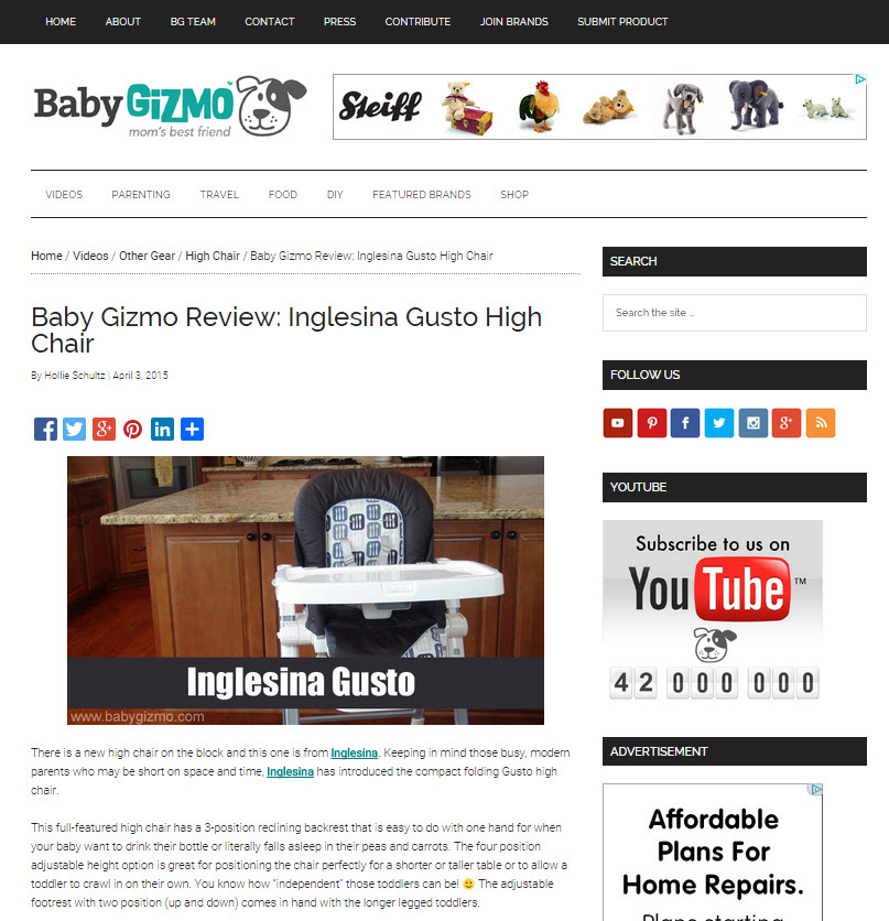 Inglesina Press 04-03-15 Baby Gizmo Gusto Chair Review 1