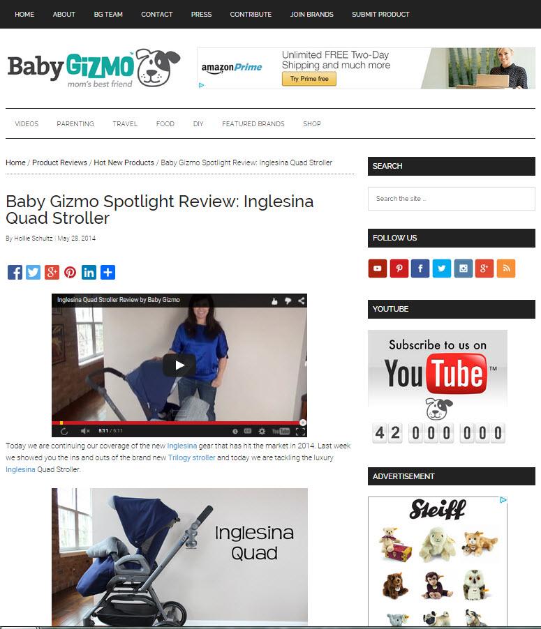 Inglesina Press 05-28-14 Baby Gizmo Spotlight Review Inglesina Quad Stroller 1