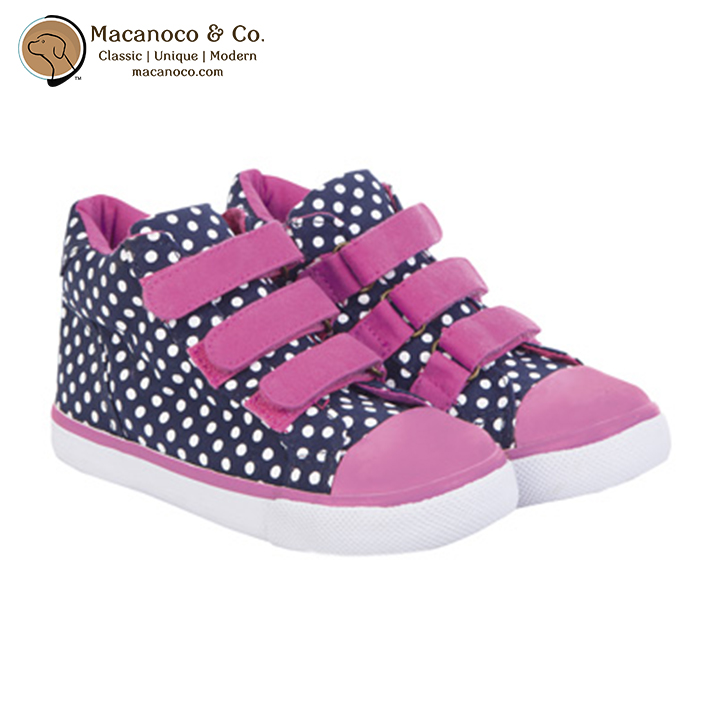 Kids Canvas High Top Shoe Navy White Dot Macanoco And Co