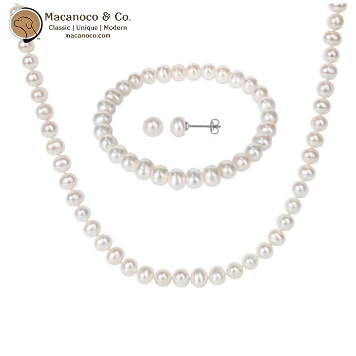 Pink Sterling Silver Freshwater Cultured Pearl Necklace Bracelet